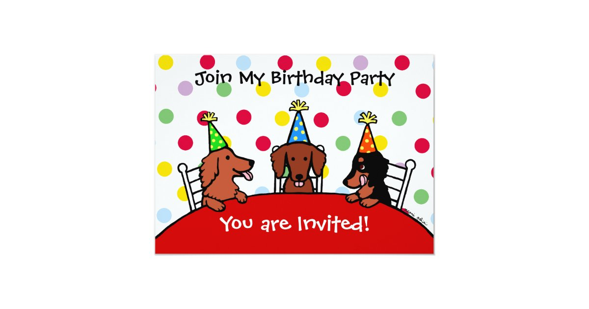 Dackel-Geburtstags-Cartoon-Party Einladung | Zazzle