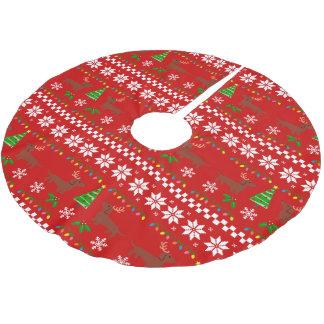 Dackel-Geweih-hässliches Weihnachtsmuster Polyester Weihnachtsbaumdecke