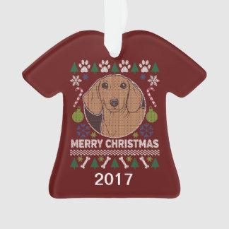 Dackel-hässliche Weihnachtsstrickjacke Ornament