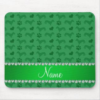 Dackel-Herztatzen des individuellen Namens grüne Mousepads