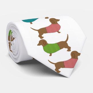 Dackel-Hund im Strickjacke-Muster-Spaß Bedruckte Krawatten