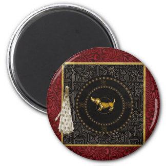 Dackel-Hund, runde Form, Hund auf Chinesen, Quaste Runder Magnet 5,1 Cm