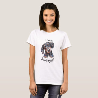 "Dackel ""ich Liebewürste!""  Hundekunstmalerei T-Shirt"