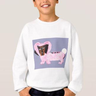 Dackel im flockigen rosa Häschen-Anzug Sweatshirt