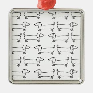 Dackel in Schwarz-weißem Quadratisches Silberfarbenes Ornament