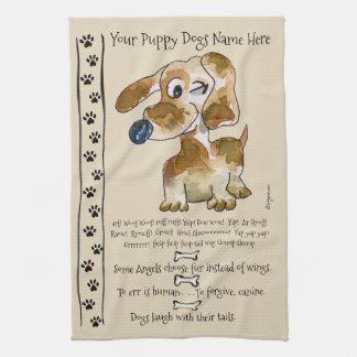 Dackel-Kreuzungs-Cartoon-Hund zitiert Küche Küchenhandtuch