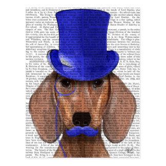 Dackel mit blauem Spitzenhut und dem blauen Postkarte
