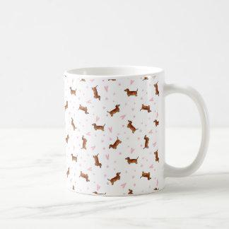 Dackel-Muster - Herzen Kaffeetasse