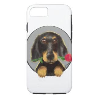 Dackel, niedlicher Hund, ein Hund mit einer Rose iPhone 8/7 Hülle