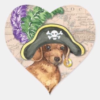 Dackel-Pirat Herz-Aufkleber
