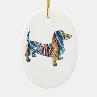 Dackel - psychedelische Zbra Dackel Keramik Ornament