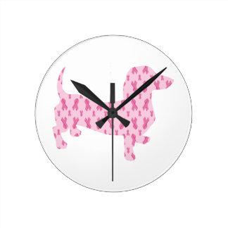 Dackel-rosa Band für Krebs Runde Wanduhr