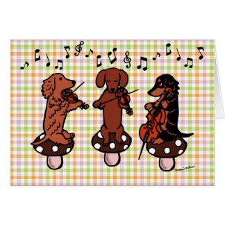 Dackel-Schnur-Trio-Musiker-Karte Karte