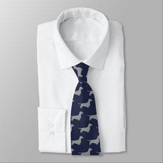 Dackel-Silhouette-Muster-Mitternachtsblau Personalisierte Krawatte