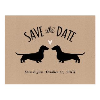 Dackel-Silhouetten, die Save the Date Wedding sind Postkarte