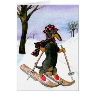 Dackel-Skifahren-Weihnachtskarte Karte