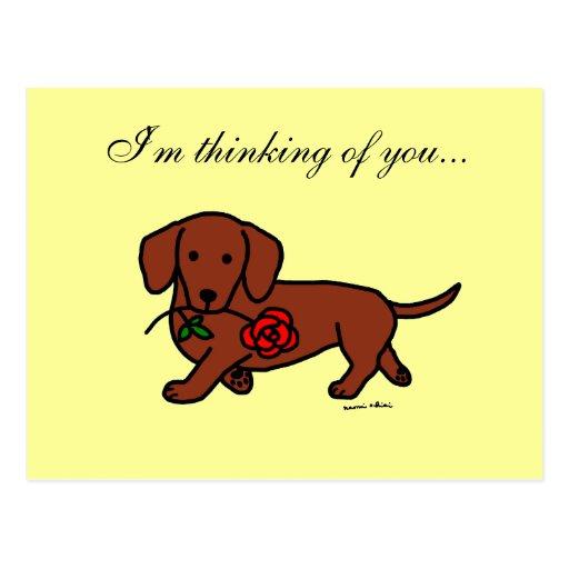 Dackel und ein Blumen-Cartoon Postkarte