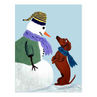 Dackel-und Snowman-Postkarte Postkarte
