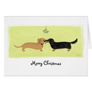 Dackel-Weihnachtsmistelzweig-Kuss Karte
