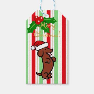 Dackel-WeihnachtsWeihnachtsmannmütze Geschenkanhänger