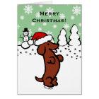 Dackel-WeihnachtsWeihnachtsmannmütze Karte
