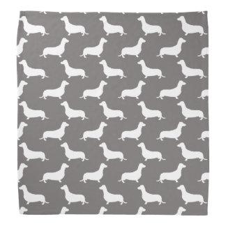 Dackel-weiße Silhouetten auf Tauben-Grau Kopftuch