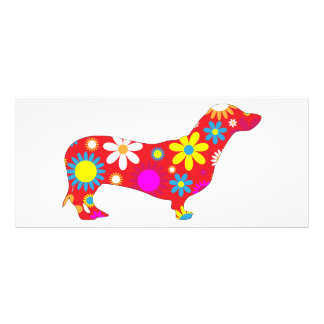 Dackelhundefunky retro bunte mit Blumengewohnheit Werbekarte