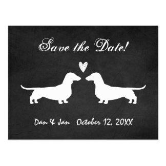 Dackeln, die Save the Date Wedding sind Postkarte