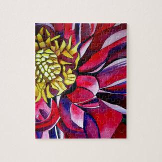 Dahlie-Blume ursprüngliche abstrakte Puzzle