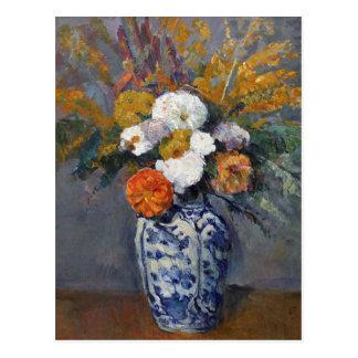 Dahlien in einem Vase von Delft durch Paul Cezanne Postkarte
