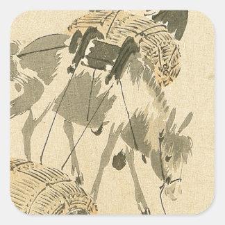 Daikoku und Maus durch Shibata Zeshin Quadratischer Aufkleber