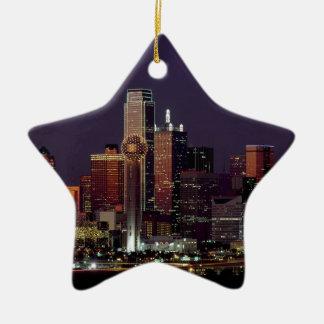 Dallas-NachtSkyline Keramik Stern-Ornament