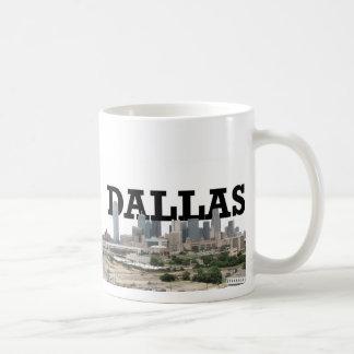 Dallas-Skyline mit Dallas im Himmel Kaffeetasse