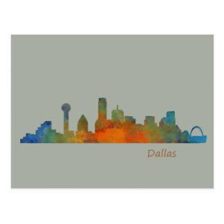 Dallas Texas City Watercolor Skyline Hq v1 Postkarte