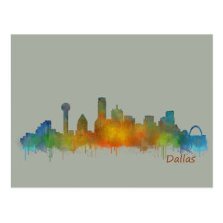 Dallas Texas City Watercolor Skyline Hq v2 Postkarte