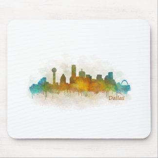 Dallas Texas City Watercolor Skyline Hq v3 Mousepad
