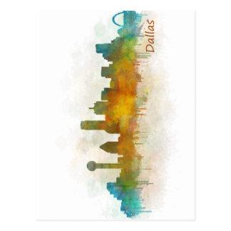 Dallas Texas City Watercolor Skyline Hq v3 Postkarte