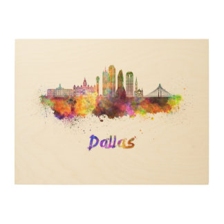 Dallas V2 skyline im Watercolor Holzleinwand