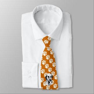 Dalmatiner auf Rost mit weißen Tatzen-Drucken Krawatte