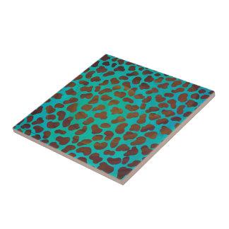 Dalmatiner Brown und aquamariner Druck Keramikfliese