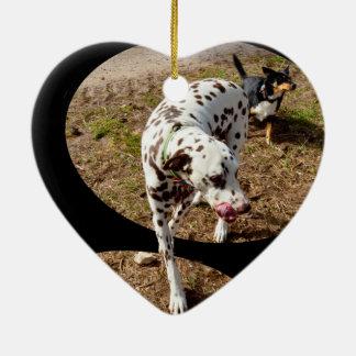 Dalmatiner, der aus Fenster-Rahmen heraus tritt, Keramik Herz-Ornament