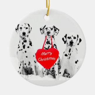 Dalmatiner, die frohe Weihnacht-Herz-Verzierung Keramik Ornament