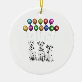 Dalmatiner, die guten Rutsch ins Neue Jahr 2016 Keramik Ornament