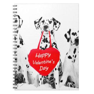 Dalmatiner-Hundeherz-glücklicher Valentinstag Spiral Notizblock