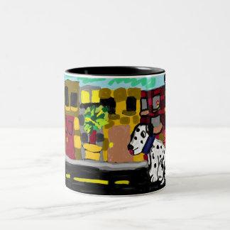 Dalmatiner in der Stadt Zweifarbige Tasse