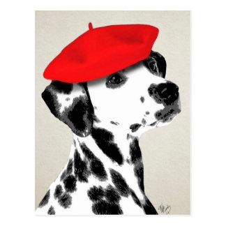Dalmatiner mit rotem Barett Postkarte