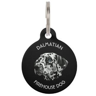 Dalmatinischer Schwarzweiss-Firehouse-Hund Haustiermarke