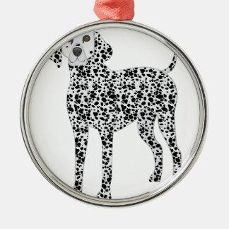 Dalmation Rundes Silberfarbenes Ornament