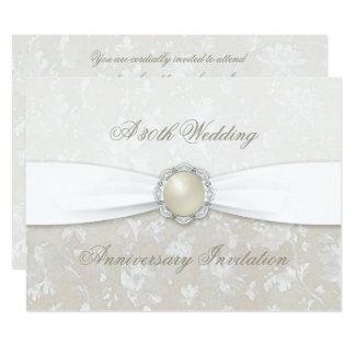 Damast-30. Hochzeitstag-Einladung 16,5 X 22,2 Cm Einladungskarte