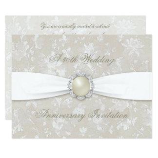 Damast-30. Hochzeitstag-Einladung Karte